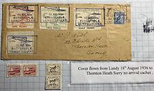 1936 Barnstaple Lundy Channel Island England Airmail Cover To Thornton Heath