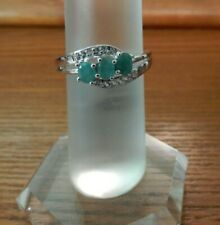 Size 7 Genuine Emerald & White Topaz Sterling Silver Ring 0.60cts