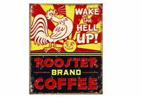 WAKE UP - ROOSTER BRAND COFFEE TIN SIGN BEAN AND CUP METAL POSTER WALL ART