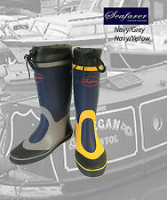 Seafarer Sailing Boat Deck Rubber Wellington Boots Wellies Grey/Yellow Free Post