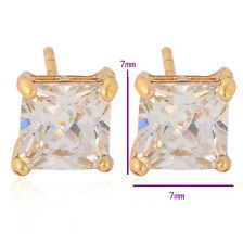 Woman 14K Yellow Gold Plated Clear CZ Womens Hypoallergenic Square Stud Earring
