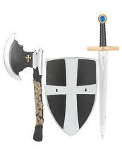 Bouclier épée et hache de chevalier médiéval en plastique enfant Cod.14133