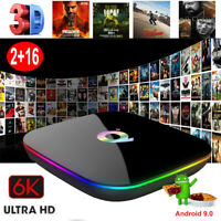 6K Q plus 2+16G Android 9.0 Pie Smart TV BOX Quad Core HDMI 2.0 WIFI USB 3.0 3D