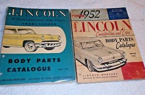 2 VTG Lincoln Cosmopolitan and Capri Body Parts Catalogue~1952 & 1953/1954~vg