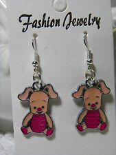 New Tiggers Friend PIGLET Charms On Silver Plated Hook Earings E 345