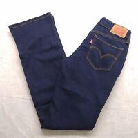 New Levis Womens 715 Dark Blue Mid Rise Bootcut Denim Stretch Jean Size 24 x 32