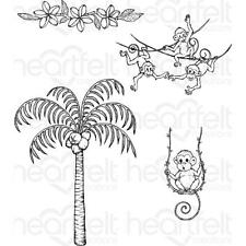 Heartfelt Creations Stamps ~ PALM TREE & MONKEYS ~ HCPC3777