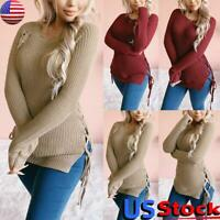 Women Long Sleeve Knitted Pullover Tops Ladies Casual Round Neck Sweater Jumper
