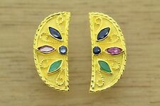 Emerald Sapphire Ruby Cz Earrings Byzantine 22K Yellow Gold Plated Greek Jewelry