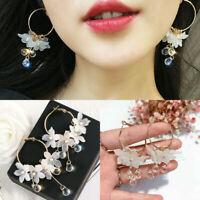 2019 Newly Acrylic Flower Crystal Tassel Dangle Drop Earrings Women Jewelry