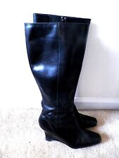 Anne Klein Black Leather Knee High Wedge Boots - Size 9.5 M