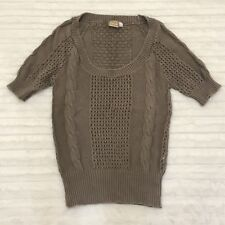 Daytrip Light Brown Sweater Top Size Small S The Buckle Knit Short Sleeves
