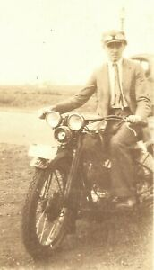 Old Vintage Antique Photo 1929 Harley-Davidson Motorcycle Hog Rider w/ Goggles