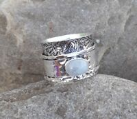 Rainbow Moonstone 925 Sterling Silver Spinner,Meditation Ring Statement Ring