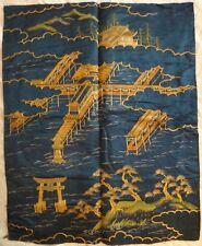 "Antique Japanese Embroidered Silk Panel Fokusa, lt. 18th/19th c. Edo, 28x26"""