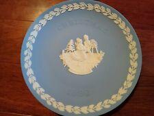 Wedgwood Jasperware Fine China Vintage Christmas1990 Blue Plate
