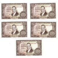 5 Billetes de España 100 pesetas 1953 Julio Romero de Torres Serie Continua  SC