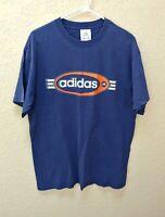 Vtg Adidas Mens Shirt Sz Medium Navy Blue Orange Spell Out Short Sleeve Retro