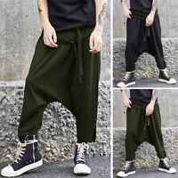 INCERUN Mens Sport Jogger Dance Slack Pants Harem Baggy Drop Crotch Trousers UK