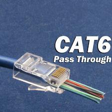 50 Pcs CAT6 Plug EZ RJ45 Network Cable Modular 8P8C Connector End Pass Through