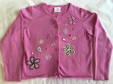 Hanna Andersson Cardigan Sweater Girls Size 140 (10) EUC Pink w/ Flowers