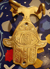 Moroccan brass hand engraved heavy  Hand with eye double hooks