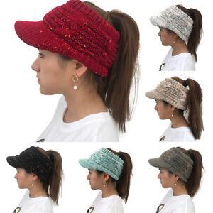 Winter Warm Ponytail High Messy Women Stretchy Hat Bun Skull Knitted Beanie Cap