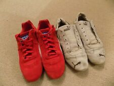 PUMA SPARCO RED SUEDE SPEEDCAT TRAINERS 2 PAIRS !! UK SIZE 12 RED AND BEIGE
