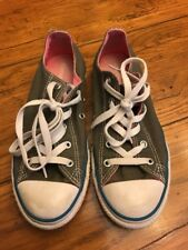 Size 36 (Youth 4 Womens 6) Converse All Star Lo Gray and Pink Sneakers