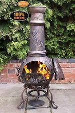 Toledo E-Large grape chimenea 129cm garden patio heater fire woodburner c-iron