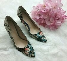 Nine West High Heel Shoes Size 8 M Fabric Floral Pink Blue Black