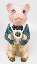 Vintage Made in Italy Porcelain Pig Piggy in Bowtie & Jacket Teapot