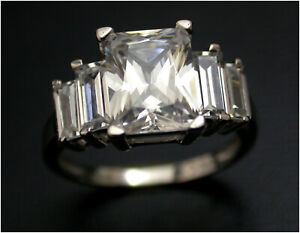 3ct Diamond Solitaire w accents Ring simulant UK L 9ct white Gold Birmingham HM