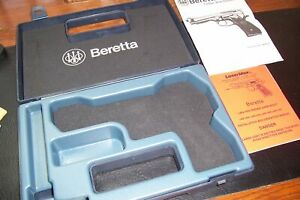 BERETTA 9MM 92FS ORG PISTOL CASE WITH MANUAL & MORE MINT