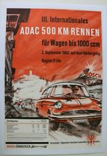 AFFICHE ORIGINAL PLAKAT NSU SPORT PRINZ ADAC 500KM RENNEN 2-09-1962 NURBURGRING