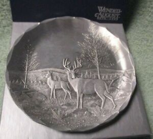 Wendell August Forge Plate Deer Woods Forest Fall Autumn Stag With Box
