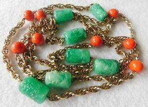 Necklace Heavy Carved Green Stones Pieces Glass ?? Orange / Red Beads Gold Tn