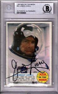 1969 Topps Man On The Moon JIM LOVELL Signed Autograph Card Beckett BAS Slabbed