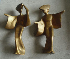 """Lot of 2 Vintage Cast Iron Gold Asian Japan Woman Figurines 7"""" Tall"""