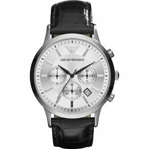 Mens Emporio Armani AR2432 Black Chronograph Silver Genuine Leather Watch