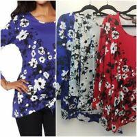 Diane Gilman Asymmetric Side-Tie Top  Pick  S-1XL Floral Print 100% Cotton
