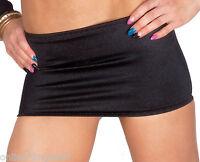 Mini Skirt Micro BLACK Satin Lycra Stretch Clubwear Spandex Bodycon Womens W304
