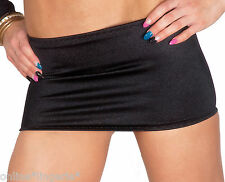 MINI SKIRT Micro Sexy BLACK Satin Lycra Stretch Party Club BODYCON Dancer W304