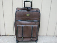 "Adrienne Vittadini Matte Croco II Luggage 26"" Suitcase Expandable Handle Wheels"