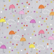 Michael Miller Drizzle Fabric in lilac Mist, rain cloud,umbrellas,cute.By the FQ