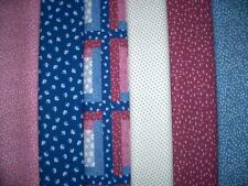 12 FQs Flowers Blue Pink White Cotton Quilt Fabric Fat Quarters