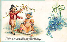 """Boy and a Girl Apples Flowers """"To Wish You A Happy Birthday""""  Postcard"""