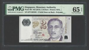 Singapore 2 Dollars ND(2018) P46i Uncirculated Grade 65