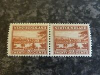 NEWFOUNDLAND POSTAGE STAMPS SG161 20C CHESTNUT PAIR 1923-6 VL-MOUNTED MINT