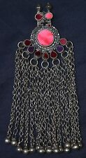#3 Large Genuine Old Uzbek Tribal Silver Pendant Cut Glass Insert